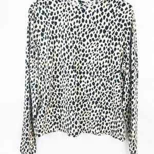 Dana Buchman Animal Print Long Sleeve Blouse Lg
